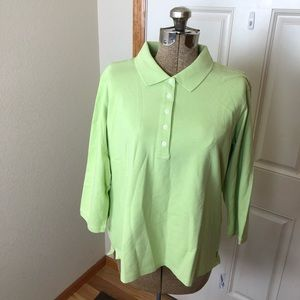 NWT LL Bean Lime Green 3/4 Sleeve Shirt